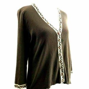 Sigrid Olsen Petite Medium Silk Beaded Cardigan